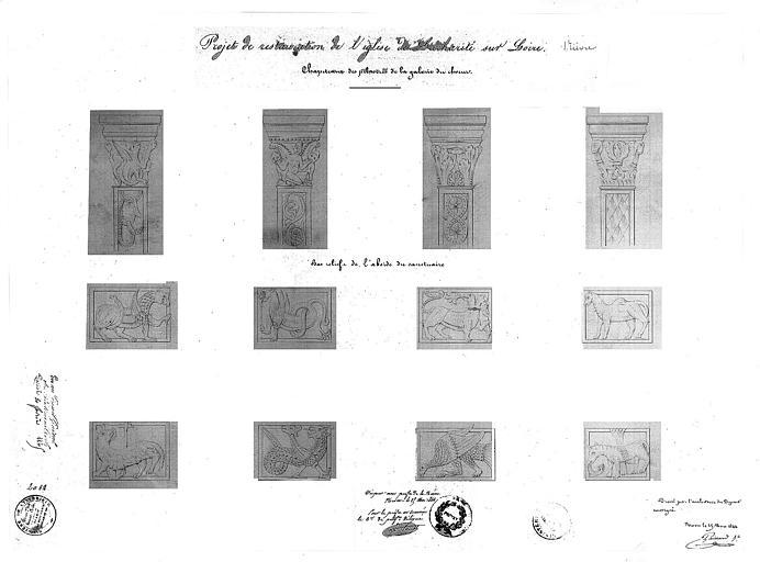 Projet de restauration : Dessin des chapiteaux des pilastres de la galerie du choeur, et bas-relief de l'abside du sanctuaire