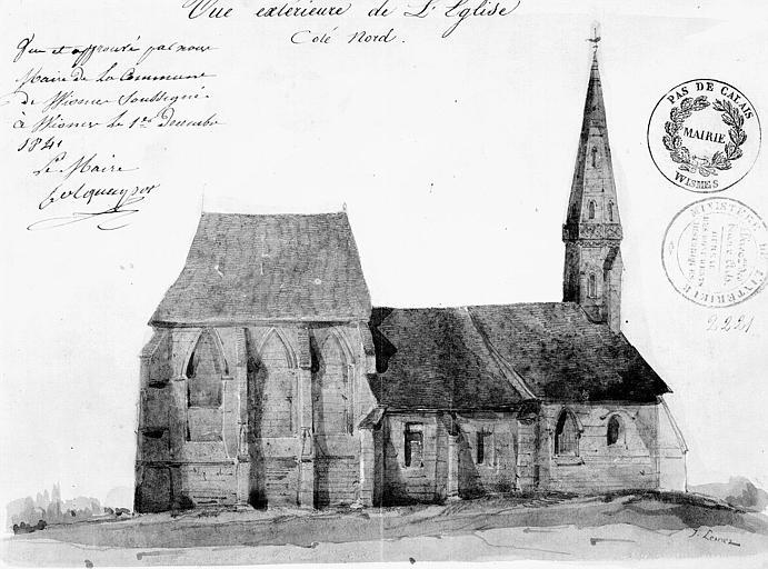 Dessin aquarellé : Vue extérieure de l'église côté nord