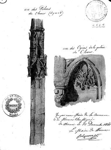 Dessin aquarellé : Ogive de la galerie du choeur et un des quatre piliers du choeur