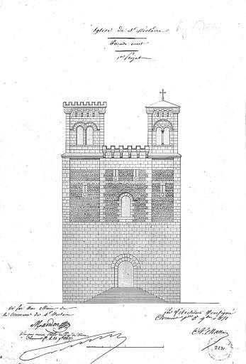 Elévation de la façade ouest (1e projet)