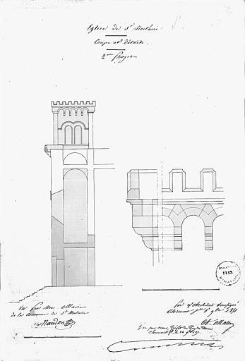 Coupe de la façade ouest et détails (2e projet)