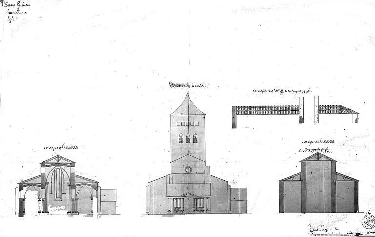 Elévation de la façade ouest et coupe transversale de l'église, coupe longitudinale de la charpente
