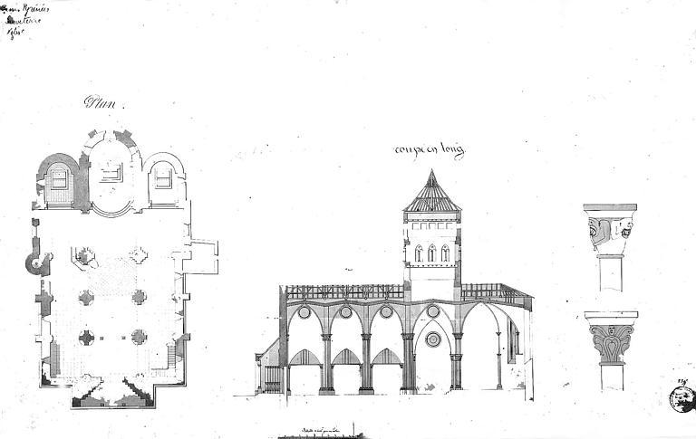 Plan général et coupe longitudinale, dessins de chapiteaux