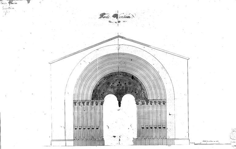 Dessin : Portail ouest avec détails des sculptures du tympan et de la 1e voussure