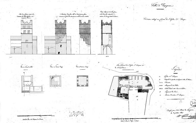Plan général de l'édifice, élévation, coupes et plans détaillés du clocher