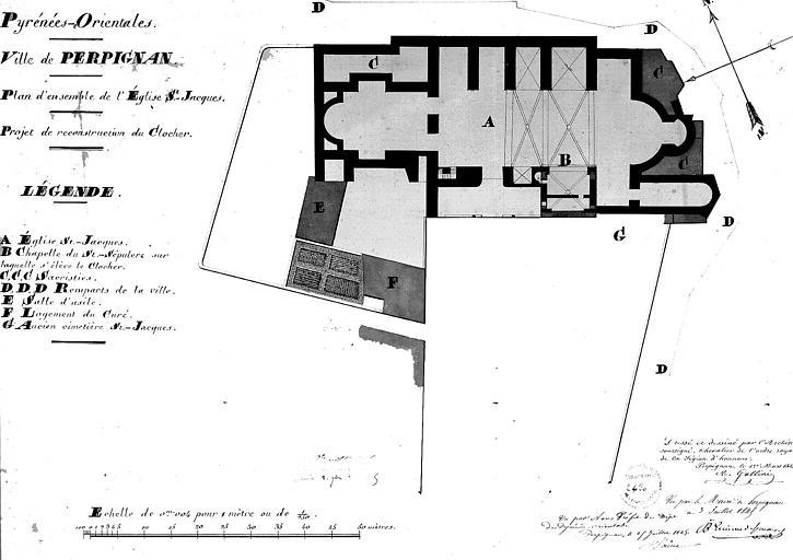 Projet de reconstruction du clocher, feuille n° 1 : Plan général
