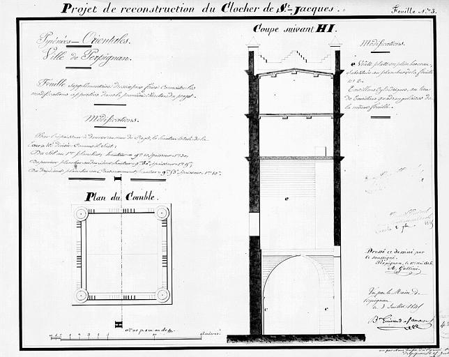 Projet de reconstruction du clocher, feuille n° 3 : Plan du comble et coupe