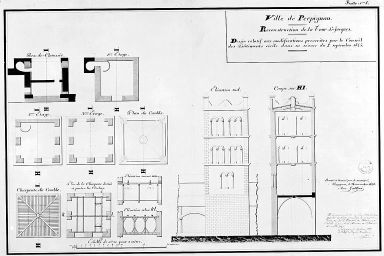 Plan de reconstruction du clocher, feuille n° 5 : Plans, élévation et coupe avec les modifications prescrites par le Conseil des Bâtiments civils