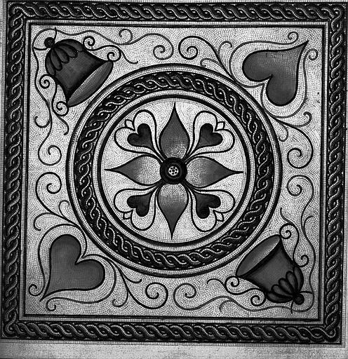 Fouilles de la place de la Major : Dessin d'un pavement de mosaïque à motifs décoratifs