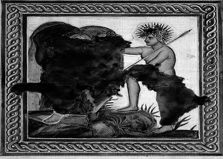 Fouilles de la place de la Major : Dessin d'un pavement de mosaïque avec personnage et parties lacunaires