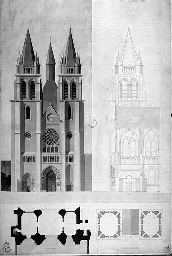 Projet de restauration (sans rabat) : Coupe et élévation de la façade ouest, plans du portail et du haut des tours
