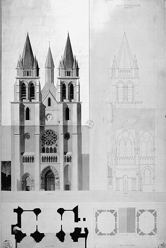 Projet de restauration (avec rabat) : Coupe et élévation de la façade ouest, plans du portail et du haut des tours