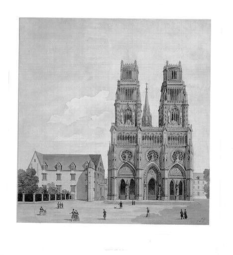Dessin (plume et aquarelle) : Façade ouest sur la place Sainte-Croix et ancien Hôtel-Dieu