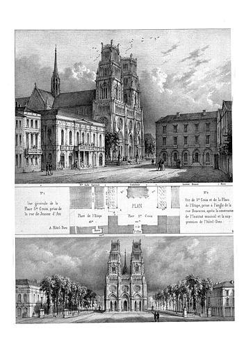 Lithographie : Plan et deux vues de la place Sainte-Croix avec la face ouest de la cathédrale