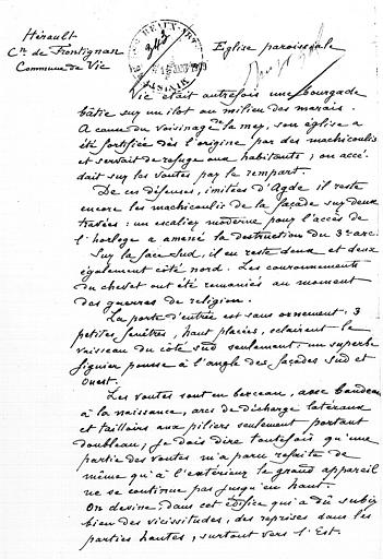 Rapport de Henri Nodet sur le classement de l'église (page 1;2)