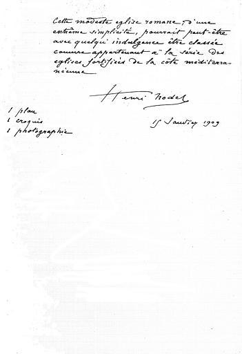Rapport de Henri Nodet sur le classement de l'église (page 2;2)