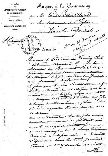 Rapport à la commission par P. Boeswillwald sur le classement de l'église (page 1;3)