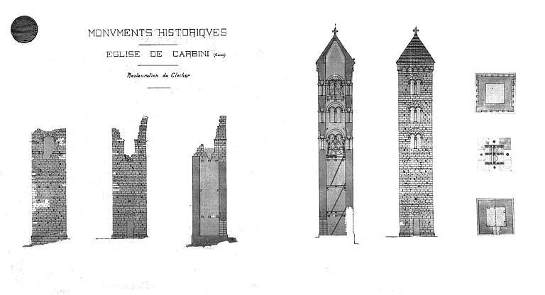 Restauration du clocher : Plan, coupe, élévation (état actuel)