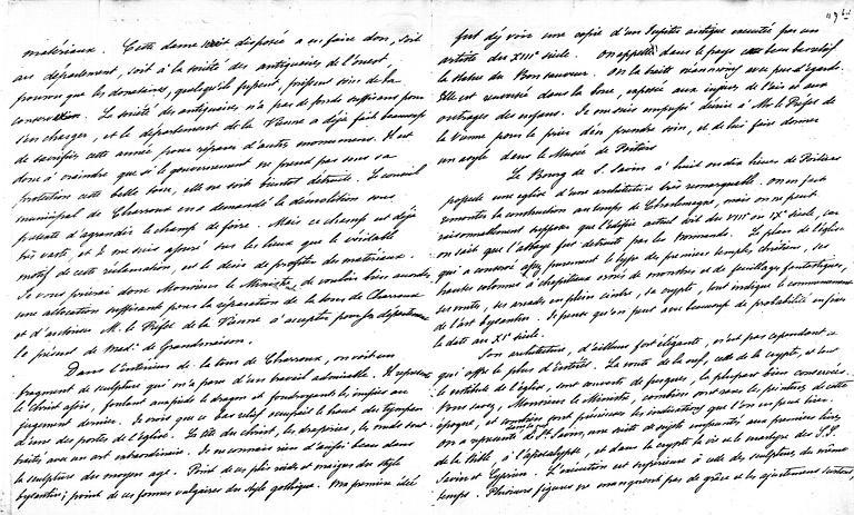 Lettre de Prosper Mérimée à Guizot concernant Charroux et Saint-Savin sur Gartempe (page 2;3)