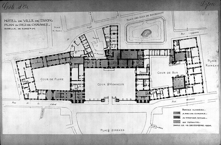 Plan du rez-de-chaussée indiquant les parties classées