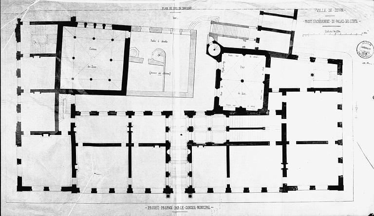 Projet d'achèvement du Palais des Etats (calque) : Plan général du rez-de-chaussée