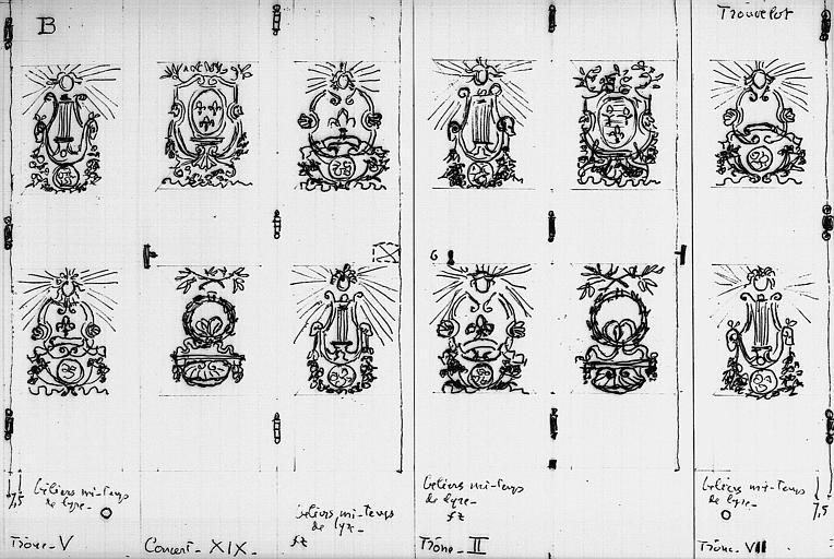 Dessin d'une armoire du 18e provenant du garde-meubles : Détails des portes