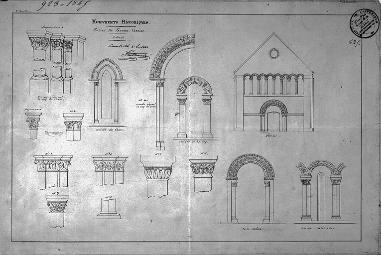 Dessin : Chapiteaux, portail et portes