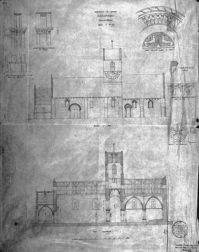 Elévation de la façade sud, coupe longitudinale et détails divers