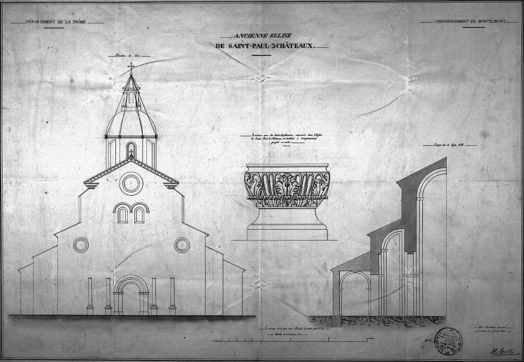 Elévation de façade ouest, coupe transversale et détail des fonts baptismaux