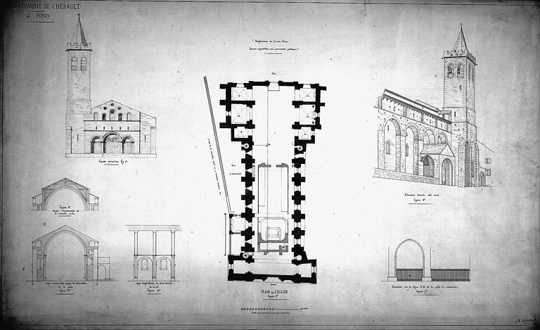 Elévation de la façade ouest primitive, coupes avant restauration, élévation de la grille à construire et vue perspective côté nord