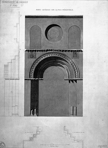 Plan, élévation et coupe de la porte latérale sud