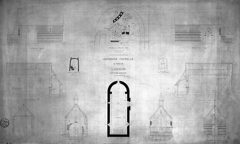 Plan, coupes, élévations de l'église et détails des peintures de l'abside