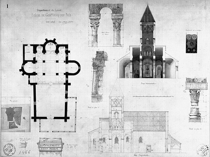 Plans, coupes, élévations de l'église et détails des piliers