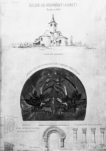 Dessins : Ensemble vu du côté des absides, peinture en mosaïque de l'abside, et détail d'une arcade et des colonnettes du clocher