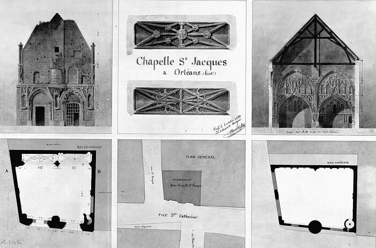 Plans, coupe de la façade et détails aquarellés