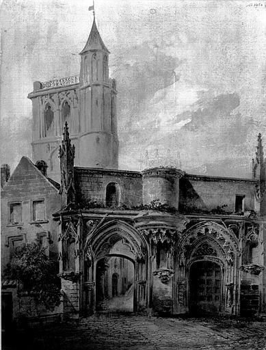 Dessin aquarellé : Réédification de la façade de la chapelle dans le jardin de l'Hôtel de ville
