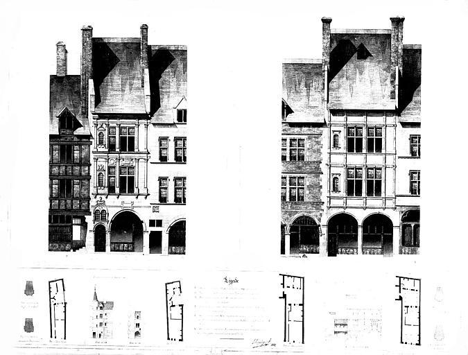 Dessin aquarellé : Plans, coupes et élévations des façades