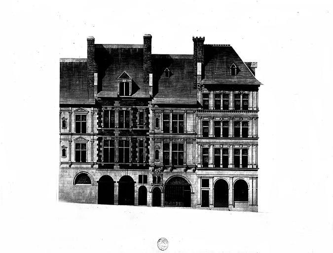 Dessin aquarellé : Elévations des façades