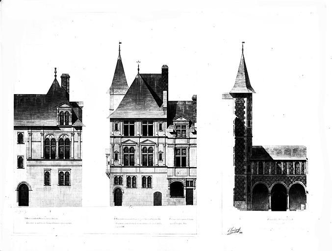 Dessin aquarellé : Elévations des façades de trois maisons
