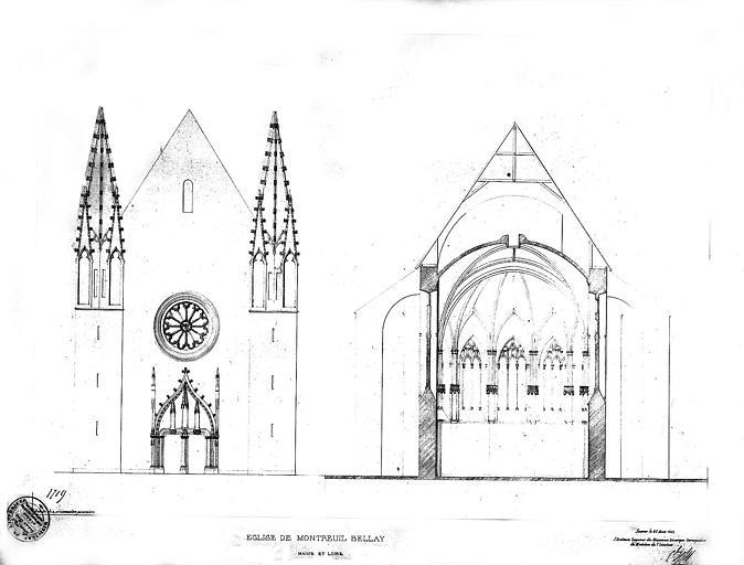 Elévation de la façade ouest et coupe transversale