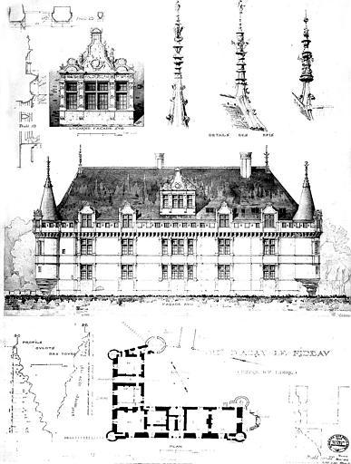 Plan, élévation de la façade sud, détails des épis et de la lucarne sud, profils des tours
