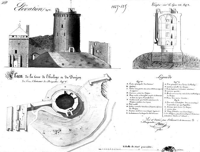 Dessin aquarellé : Plan, coupe et élévation de la tour de l'horloge et du donjon