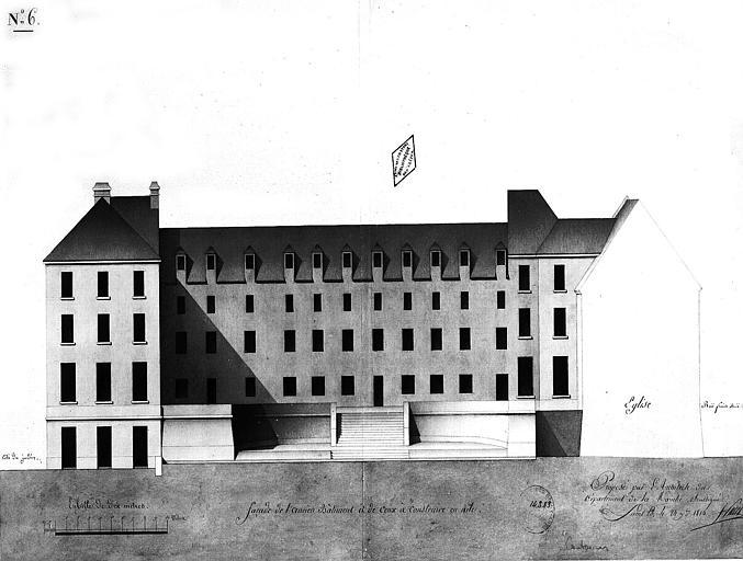 Dessin aquarellé : Façade de l'ancien bâtiment et de ceux à construire en aile, planche n° 6