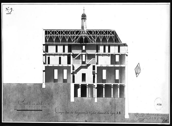 Dessin aquarellé : Coupe sur la longueur de l'église, ligne AB, planche n° 9