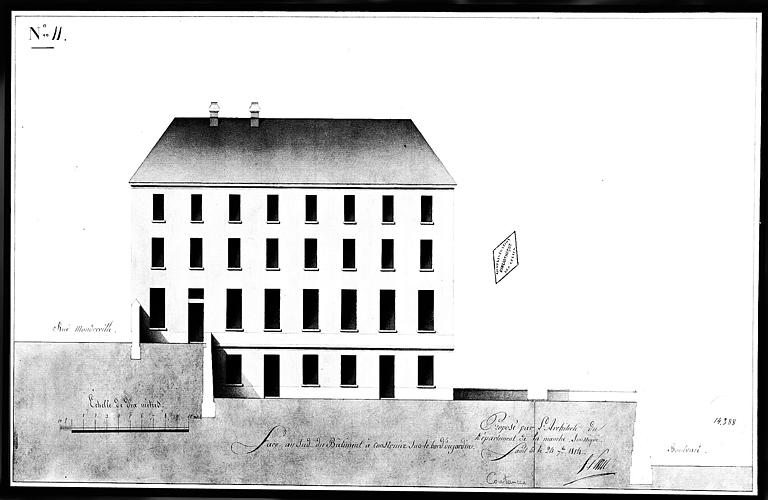 Dessin aquarellé : Face sud du bâtiment à construire sur le bord du jardin, planche n° 11