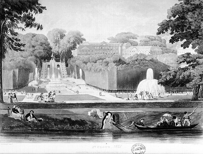 Gravure : Saint-Cloud, les cascades du parc