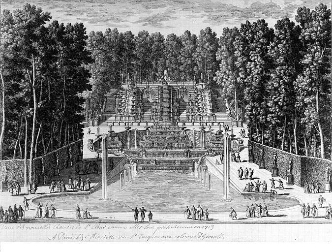 Gravure : Vue des nouvelles cascades de Saint-Cloud, comme elles se présentent en 1713