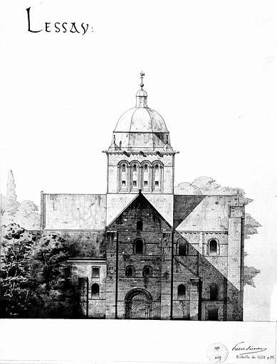Dessin aquarellé : Elévation de la façade occidentale