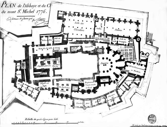 Fac-similé d'un plan de 1776 : Plan général du niveau intermédiaire (2e niveau), modifications, rabats, chambre des exilés au sud et chambre à l'est
