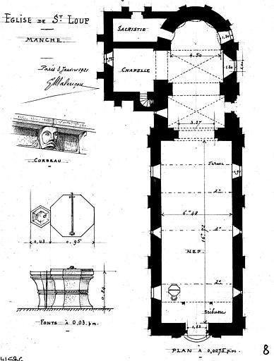 Plan général, et détail d'un corbeau et des fonts